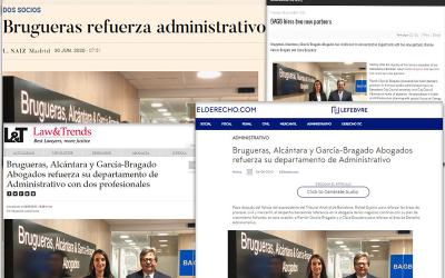 Brugueras, Alcántara & García-Bragado Abogados refuerza su departamento de administrativo con dos profesionales