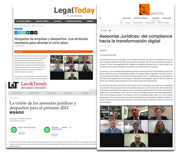 Brugueras, Alcántara & García-Bragado participa en el webinar sobre las tendencias legales para 2021